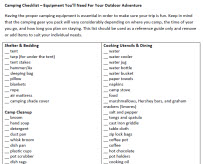 Camping Checklist &#8211; Equipment You&#8217;ll Need For Your Outdoor Adventure