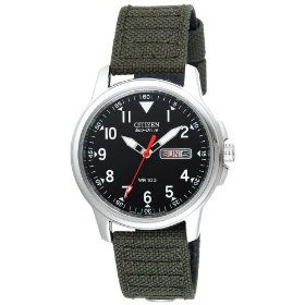 Citizen Eco Drive Watch Mens Canvas Strap #BM8180-03E